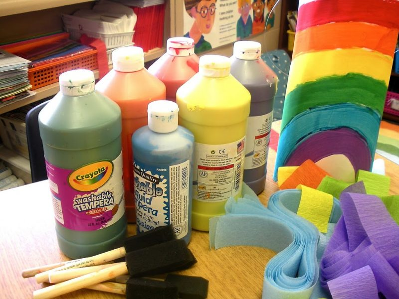 kindergarten supplies for rainbow painting
