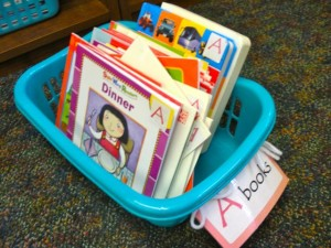 Label library books and bins for easy organization