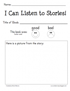 Free reading response form for kindergarten students