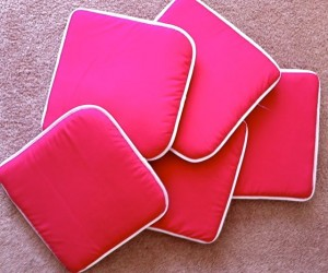 Use inexpensive chair cushions as classroom carpet seating