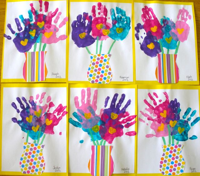 adorable Mother's Day handprint bouquets