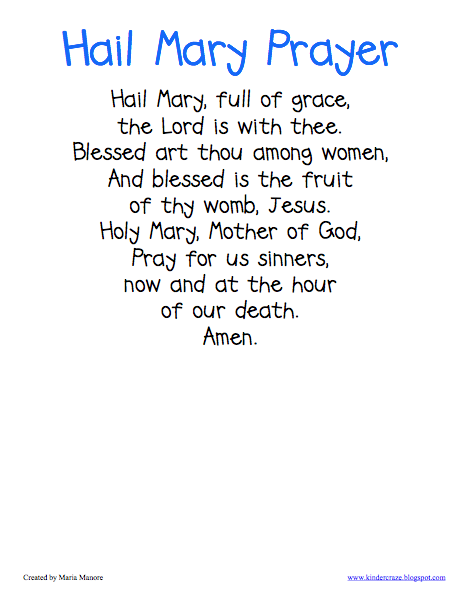 FREE downloadable poster with the words to the Hail Mary