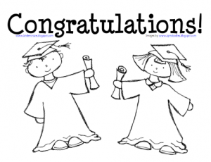 Kindergarten graduation coloring page for Graduation cap and diploma coloring pages