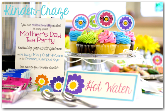 cute ideas for celebrating Mother's Day in the classroom with a kindergarten tea party