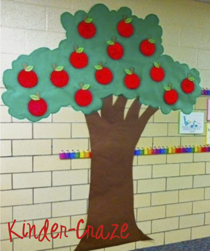 Paper plate apples for Apple tree classroom decoration