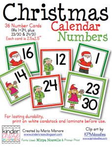 Santa-themed Christmas Calendar Numbers, only $1.50