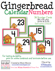 Gingerbread Calendar Numbers, only $1.50!