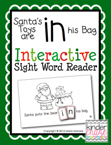 """""""Santa's Toys are in his Bag"""" interactive book for sight word practice, only $1.00"""