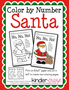 FREE color by number Santa picture