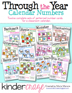 12 complete sets of patterned calendar numbers for the entire year, only $15.00