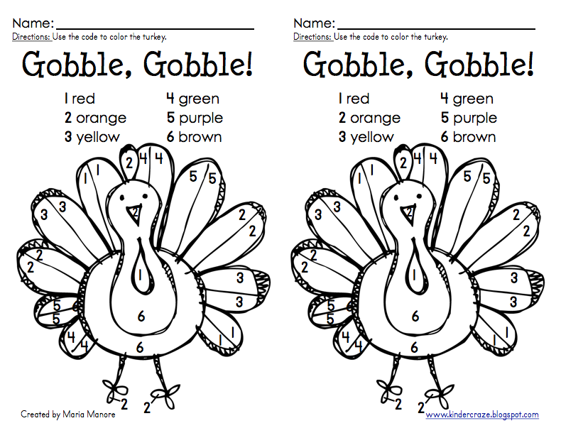 thanksgiving color by number turkey freebie