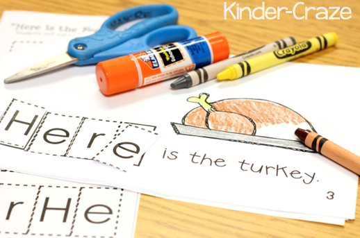 Emergent Reader For Thanksgiving Themed Sight Word Practice