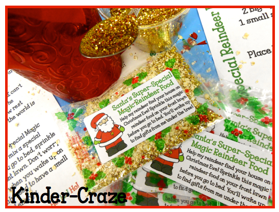 """Reindeer Food Kit with letter from Santa, """"Top Secret Recipe"""" and zipper bag labels - only $1"""