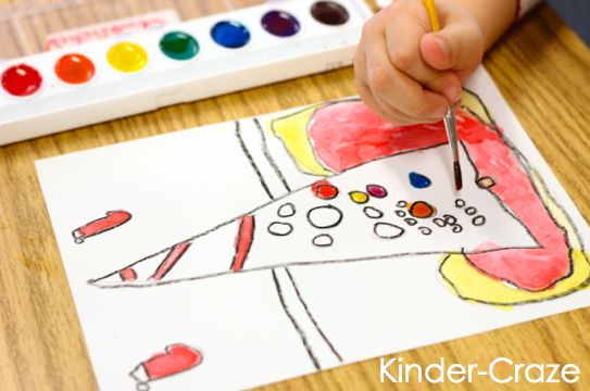 child-painted Christmas trees… great idea for kindergarten parent gifts