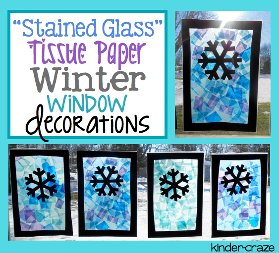 """Stained Glass"" winter scene made with contact paper and tissue paper"
