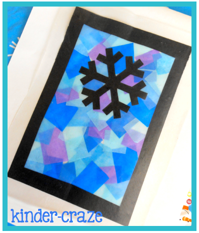 Festive winter window decor and a freebie for Stained glass window craft with tissue paper