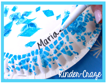 doily + paper plate + paint = PRETTY SNOWFLAKE!