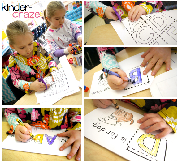 Cut and glue letters on each page of Interactive Alphabet Readers from Kinder-Craze