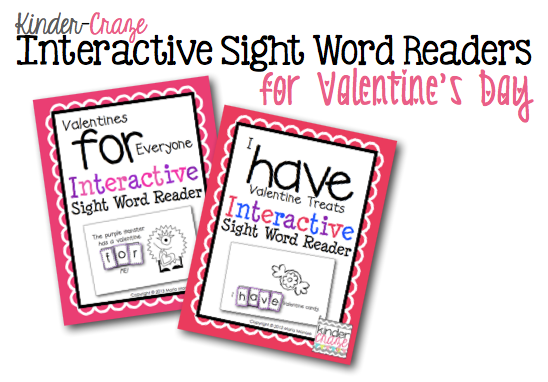 Sight word practice with Valentine themed emergent readers