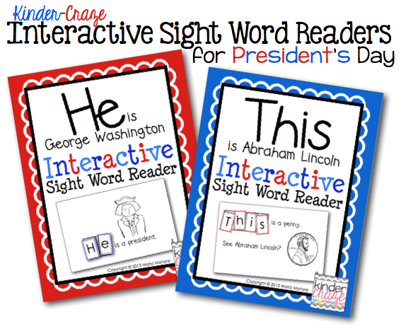 Interactive Sight Word Readers for Presidents Day. Only $1 each!