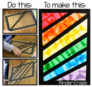 "Instructions for making ""stained glass"" rainbows with tissue paper"