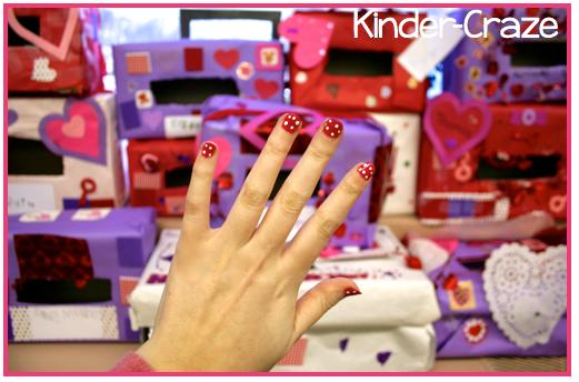 polka dot nails for Valentines Day