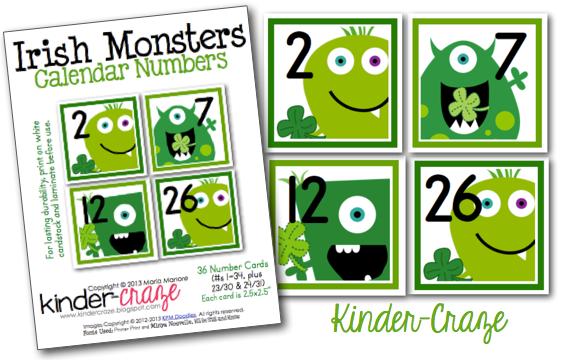 Irish Monster calendar numbers - too cute!