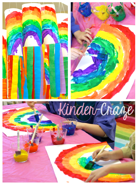 springtime Rainbow paintings for kindergarten
