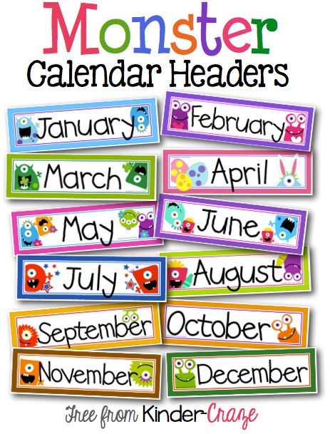 Monthly Calendar Headings : Free printable monthly calendar headers search results