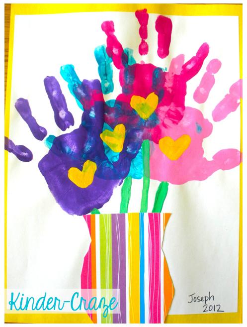 adorable handprint bouquet art project