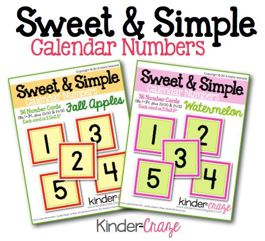Calendar Numbers Clipart : A sweet and simple classroom calendar