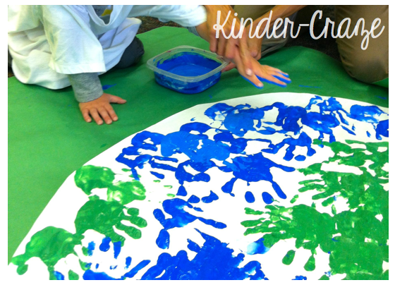 handprint Earth bulletin board display for Earth Day
