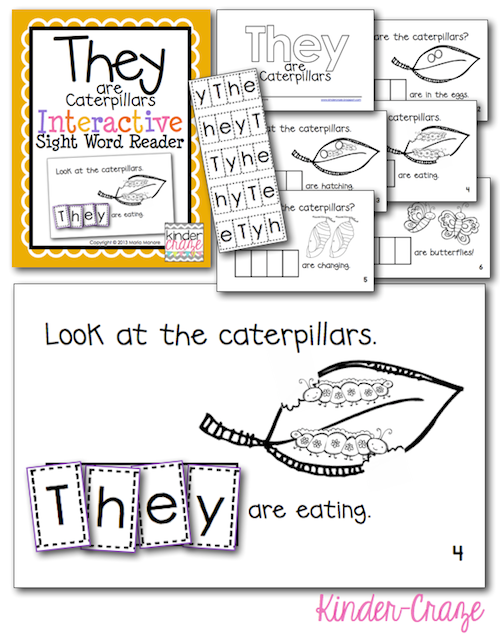 They are Caterpillars... life cycle emergent reader with interactive sight word practice for only $1