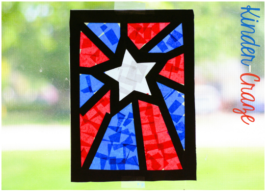 Patriotic craft window decorations a visual tutorial for Stained glass window craft with tissue paper