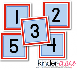printable calendar numbers in red, white, and blue!