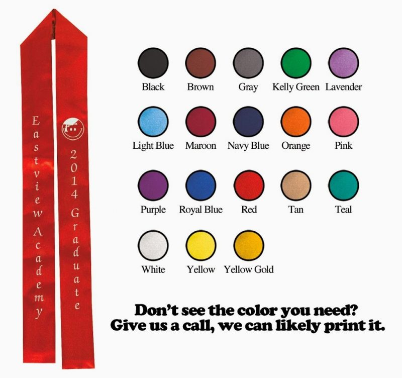 Custom graduation sashes for preschool or kindergarten students from Andersons