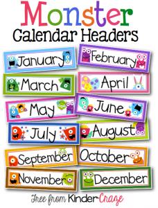 FREE monster theme calendar header