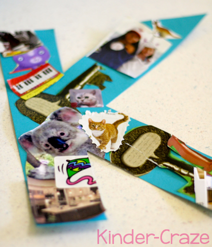 Letter collages in a Kindergarten classroom