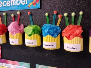 Cute Cupcake birthday bulletin board display for Kindergarten Classroom