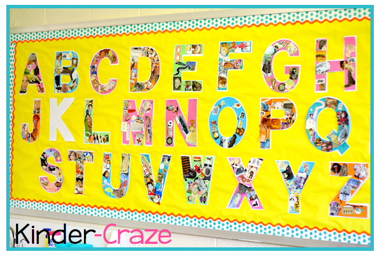great idea for an alphabet wall bulletin board