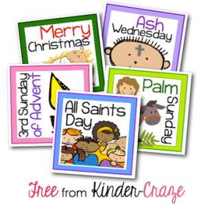 FREE Religious holiday cards for a classroom calendar