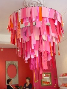 ribbon chandelier for kindergarten classroom