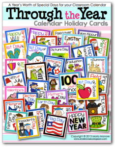 A year's worth of holiday cards for your classroom calendar