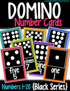 Domino cards to display number words and quantity. Love that this set is black.