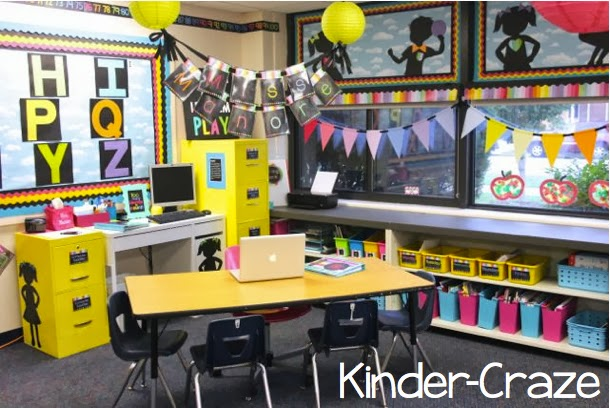 bright rainbow kindergarten classroom tour... love this teacher desk!