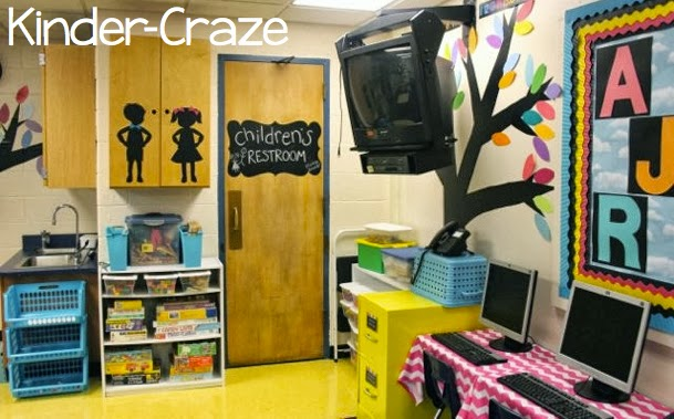 love this chalkboard idea for a kindergarten classroom bathroom