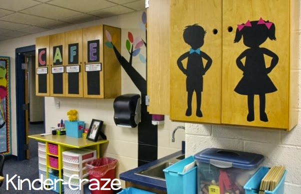 cute child silhouette cutouts in a kindergarten classroom