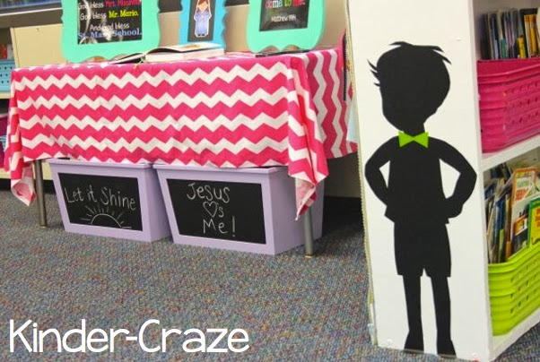 child silhouette in kindergarten classroom