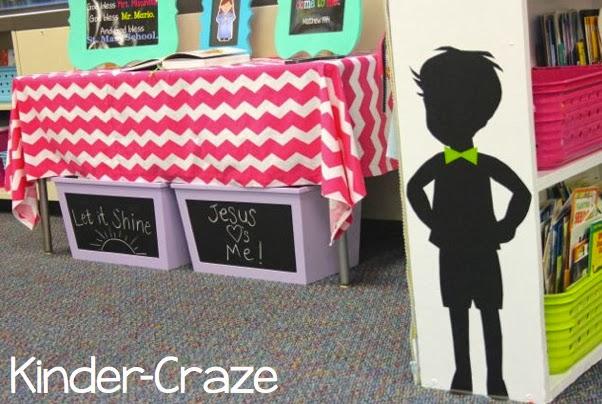 child silhouette in kindergarten classroom