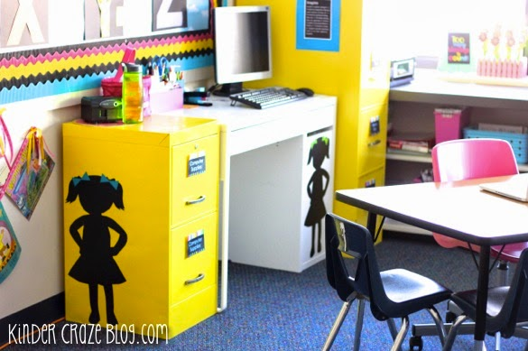 spray painted file cabinets… so pretty for the classroom!
